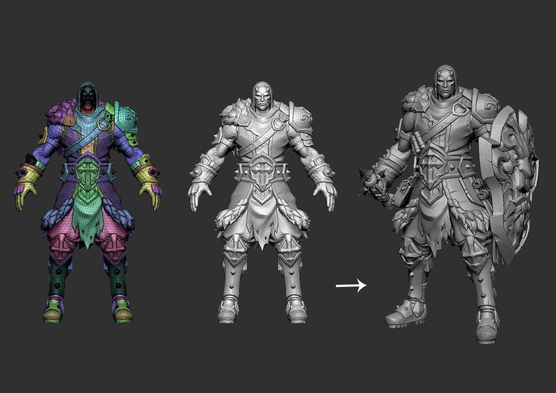 battle character with armour development