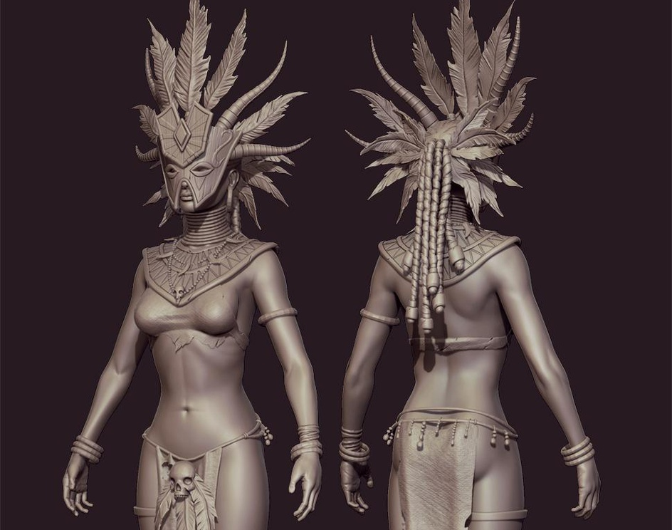 Witch doctor High resolution sculptby tits