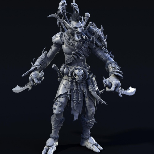 troll battle warrior character 3d model design