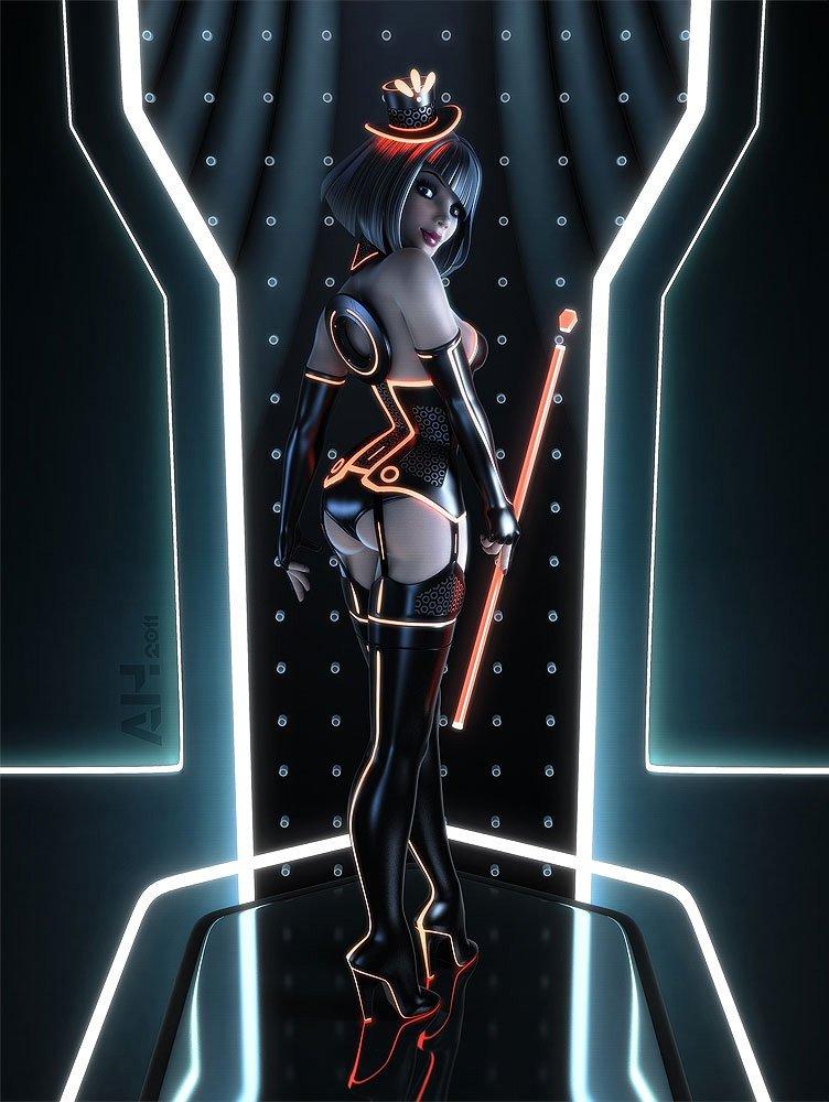 Cyberpunk tron pinup girl