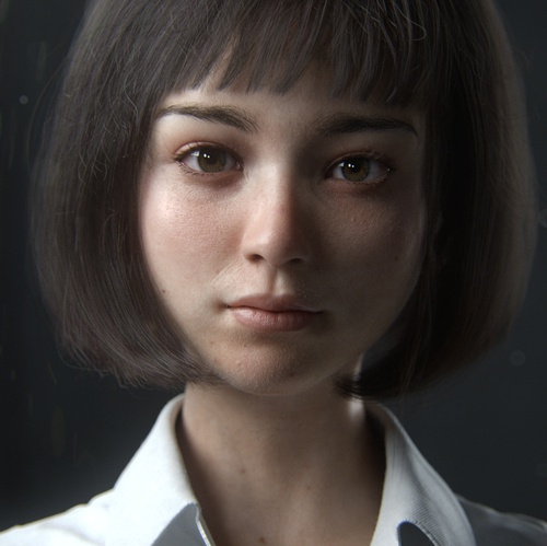 young girl 3d model portrait