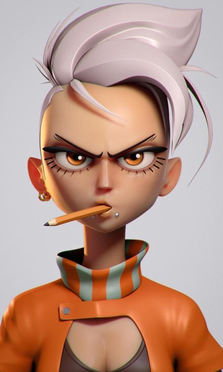 punk bad girl female character design model 3d