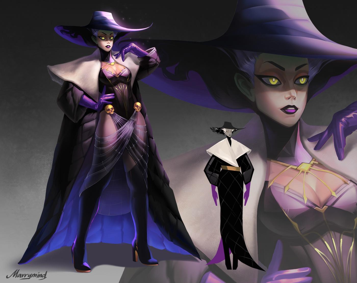 dark drama modern day witch regal hat 2d illustration