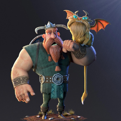 sculpt viking 3d model render dragon