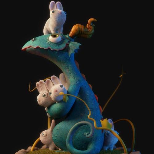 lizard creature cute bunnies 3d creature design
