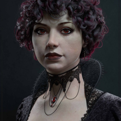 vampiress horror fantasy character female design 3d