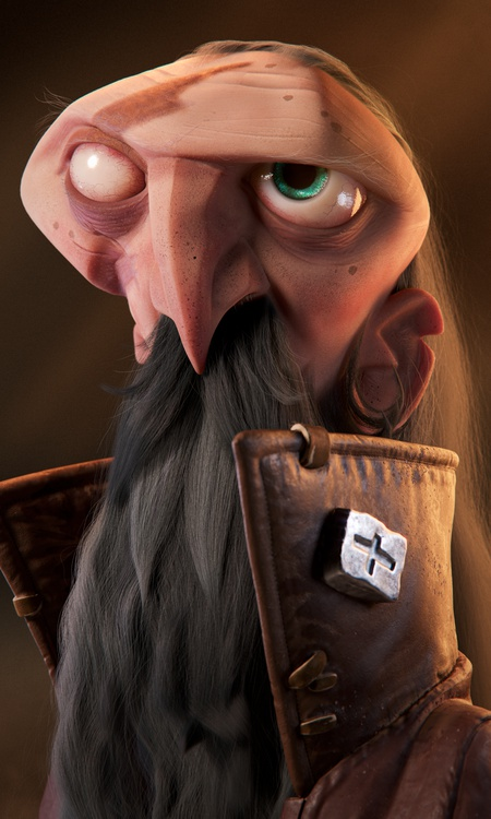 leather jacket gruel male character design beard 3d render
