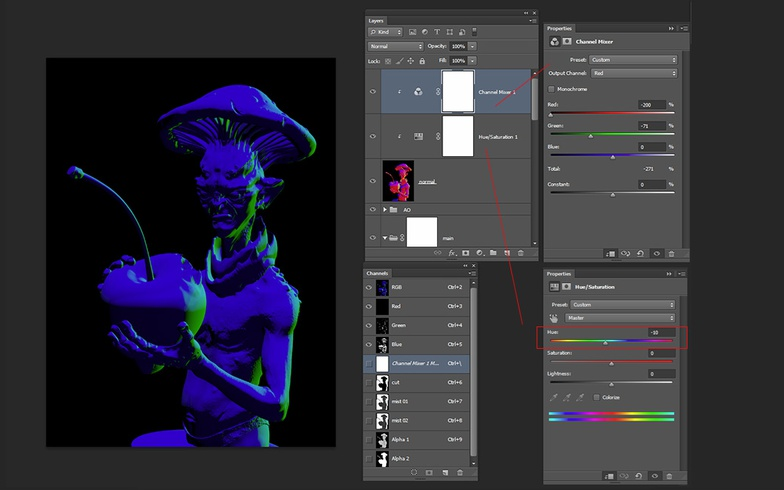 normal layer hue saturation channel mix