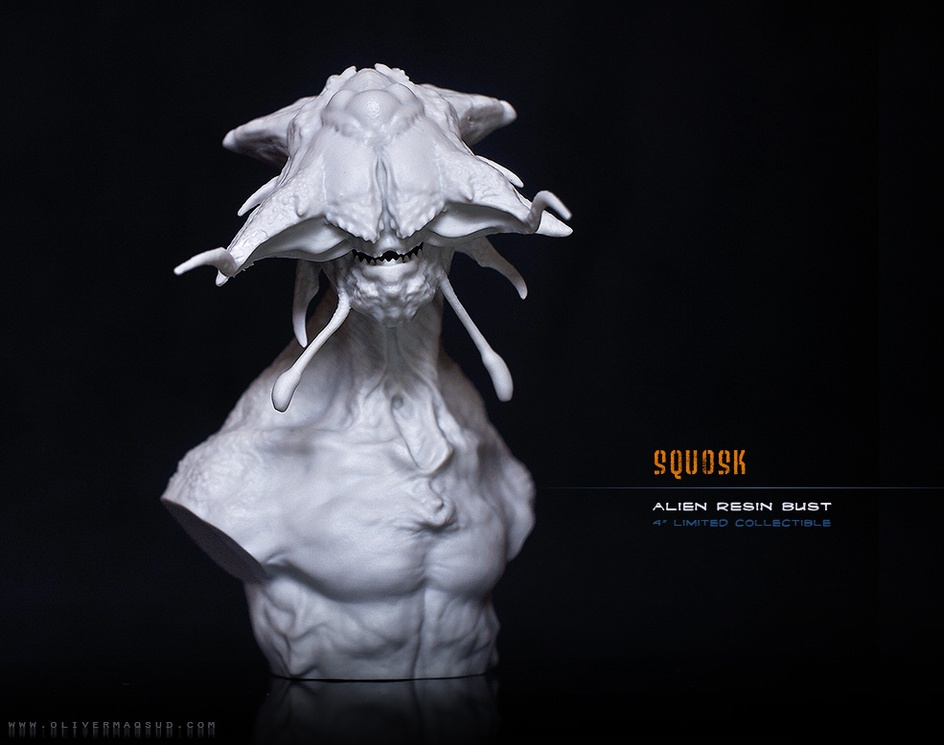 Squosk - Alien bust made from 3D printby Ecthelion