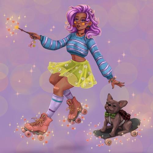 pink hair pug dog witch modern day 2d illustration digital art