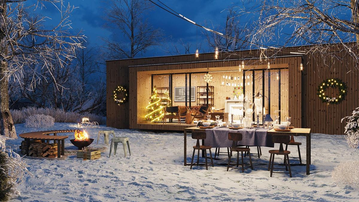christmas festive winter exterior design