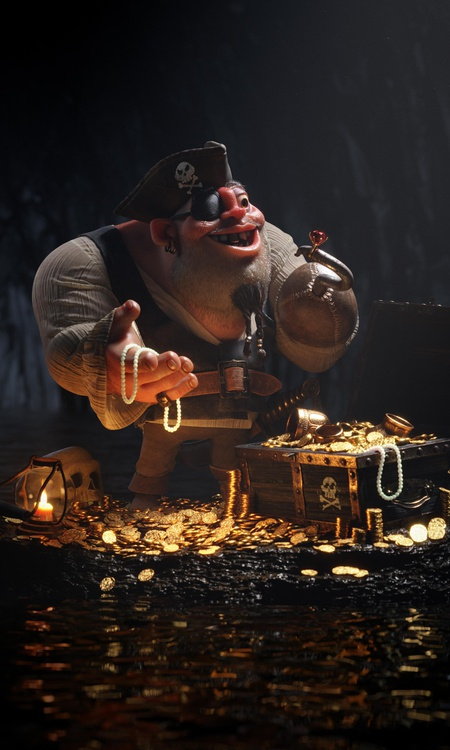 pirate rich money chest adventure cave 3d character design