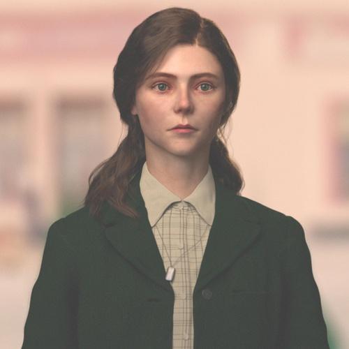 realistic portrait jojo roabbit female character