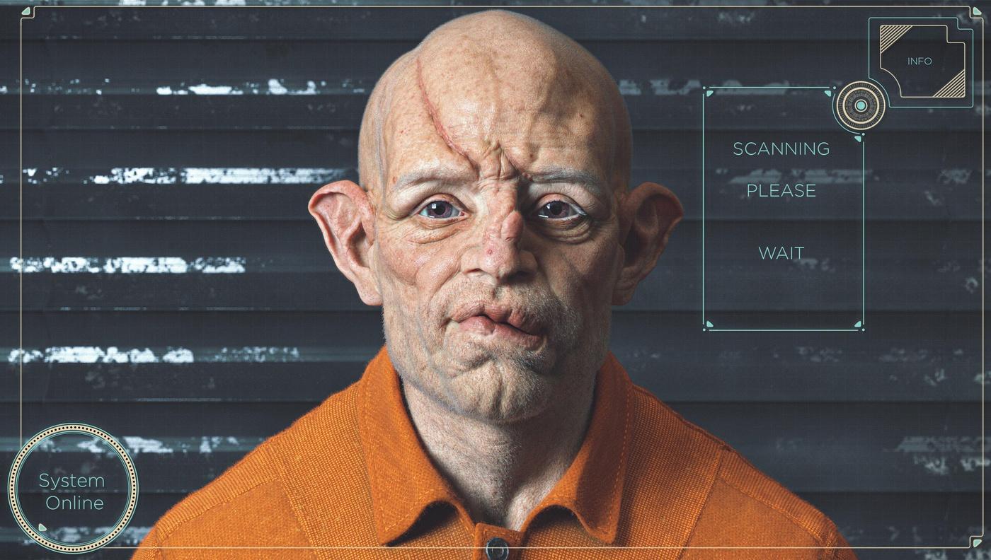 realistic portrait disfigured male character design