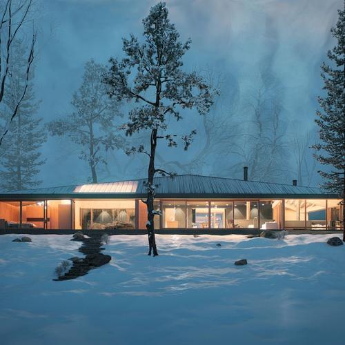 winter lake house snowy scenery
