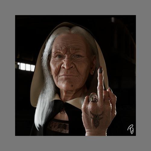 older witch render 3d model elderly lady dark fantasy