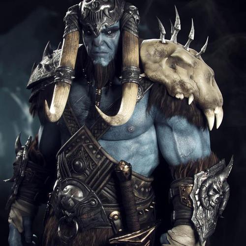 blue male warrior 3d model
