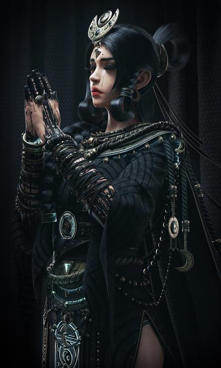gothic fantasy piece model character design dark tones