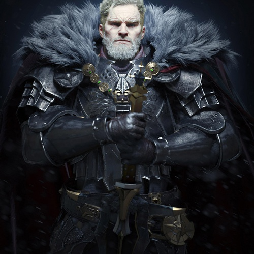 dark gloomy warrior sword 3d model