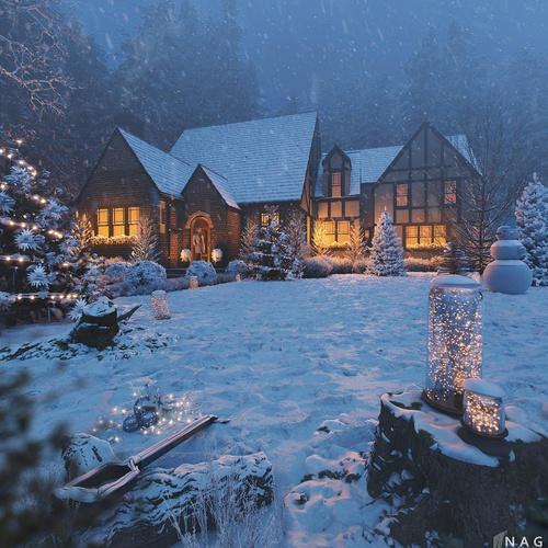 christmas snow large house