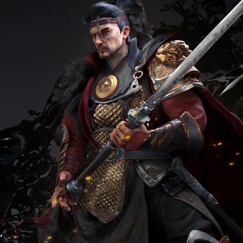 male asian warrior 3d model