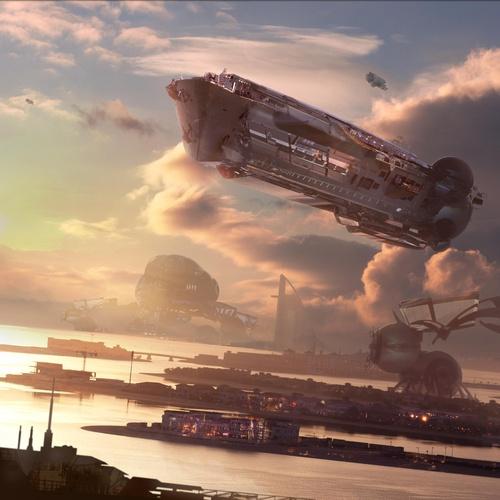 futuristic sci-fi spaceship skyline
