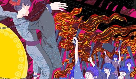 fire demonic witch trial horror murder 2d illustration dark