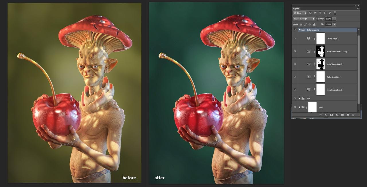 color grading 3d model design art mushroom