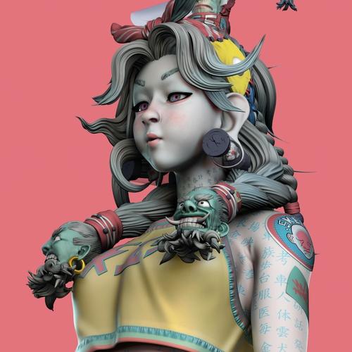 skeen girl character design girl 3d model
