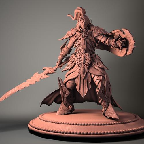 elf sculpt 3d model sepia tone fighting scene