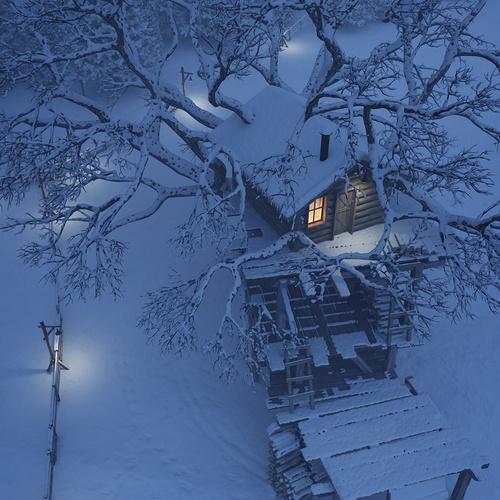 snow tree house 3d model design