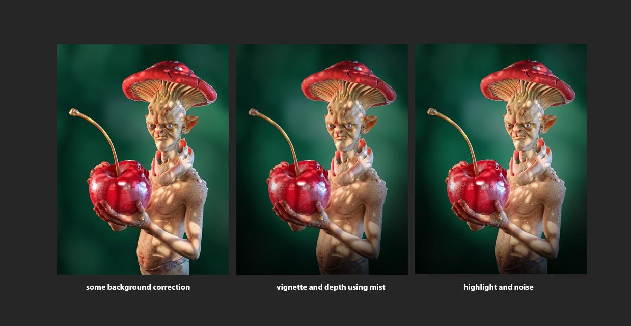 tones moods lighting 3d model mushroom