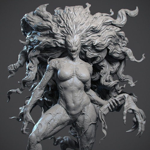 symbiote horror character design 3d
