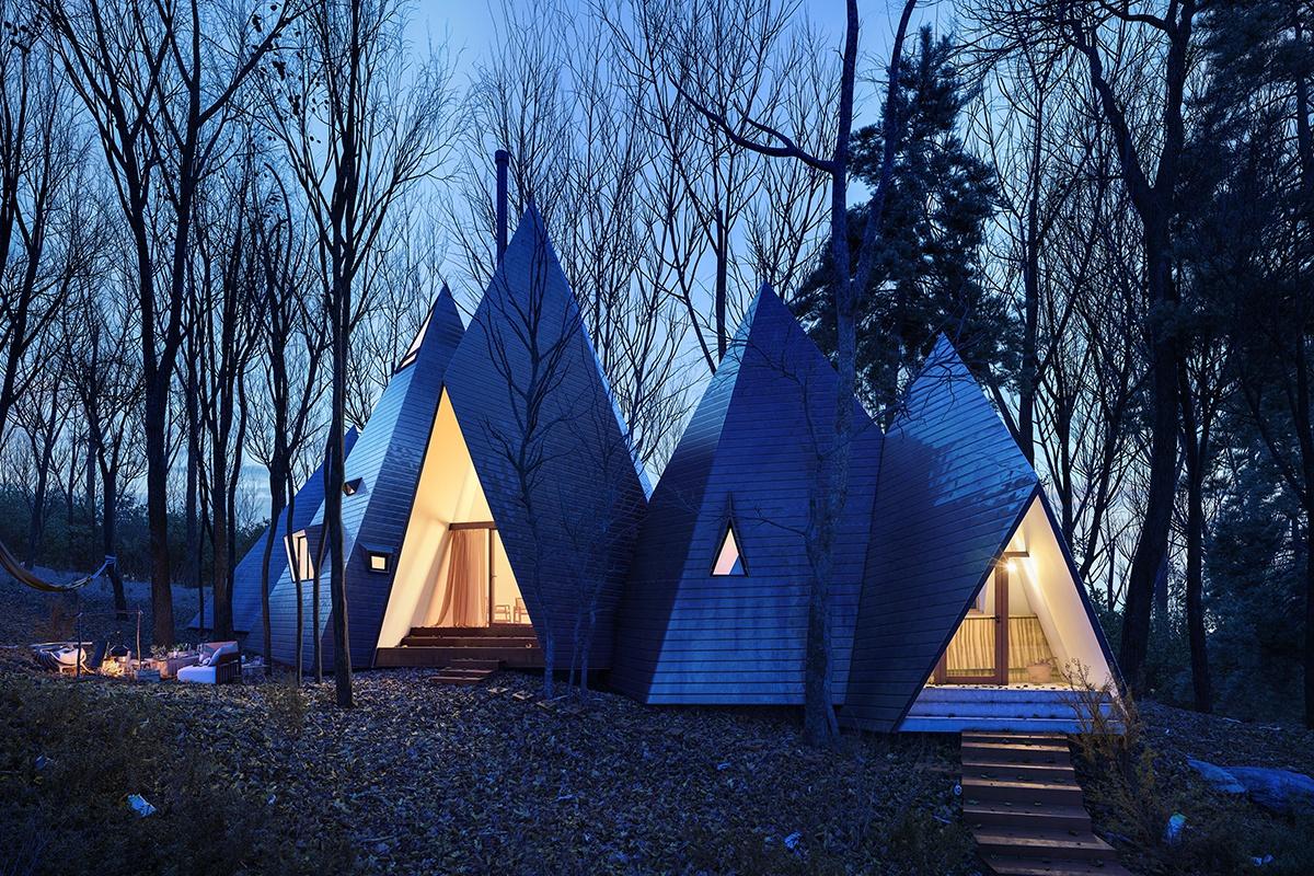 tent trees dusk environment 3d design