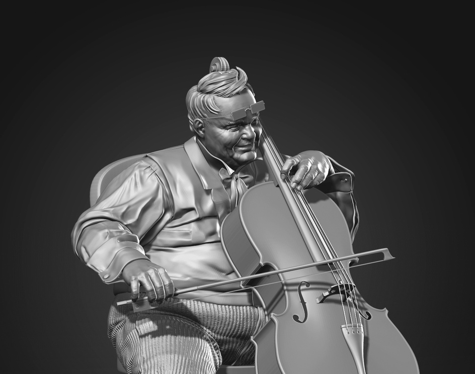 An old man playing a celloby DJ Kim