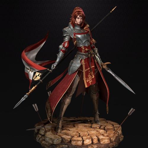 female knight camellia warrior design
