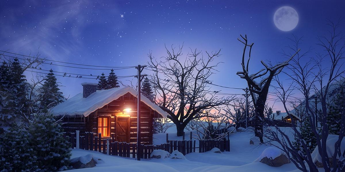 night time winter cabin scenery