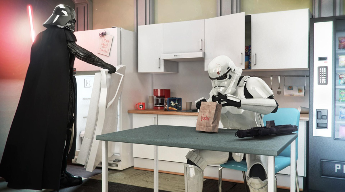 clone and darth vader in kitchen