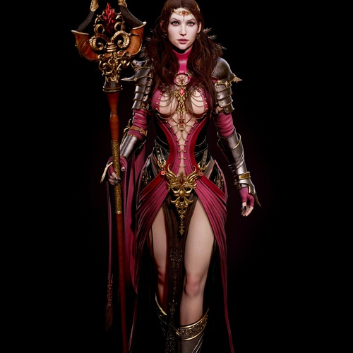 blood sorceress female character design