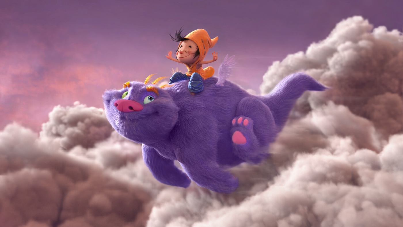 flying purple fluffy monster boy clouds