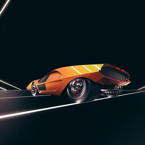 orange car cgi modelling
