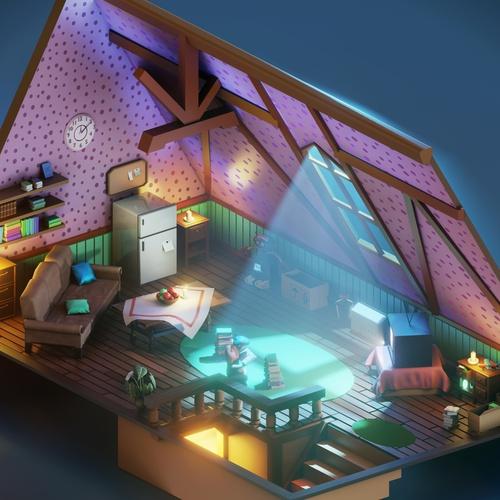 low poly 3d attic