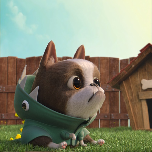 3d cute dog character