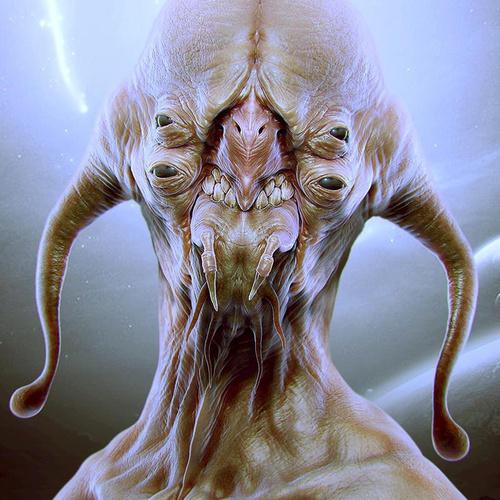four eyed alien 3d art