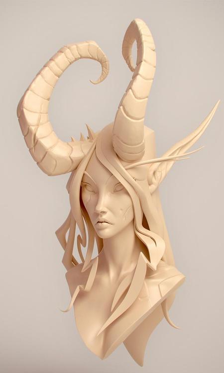 demon hust bust 3d model profile character design