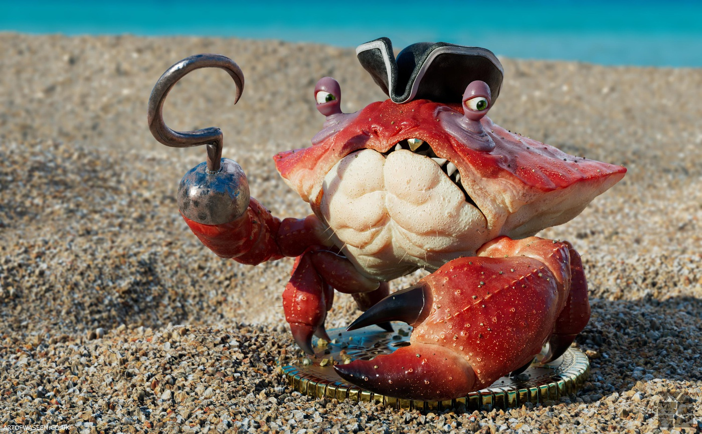3d stylised pirate crab at beach