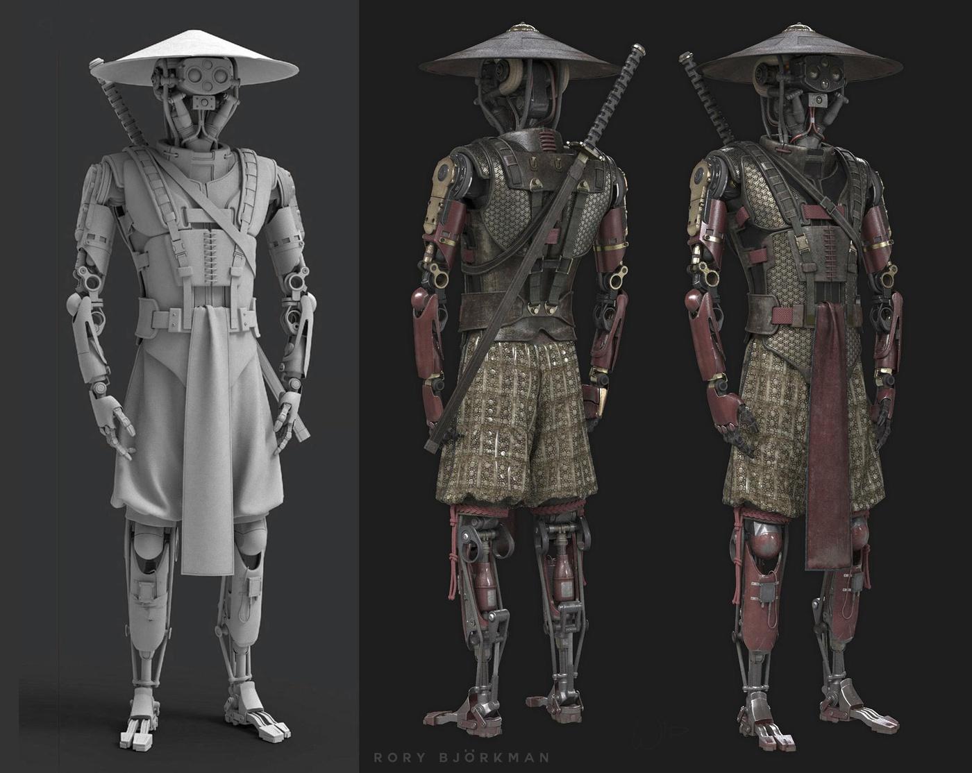 robotic 3d model design samurai mecha