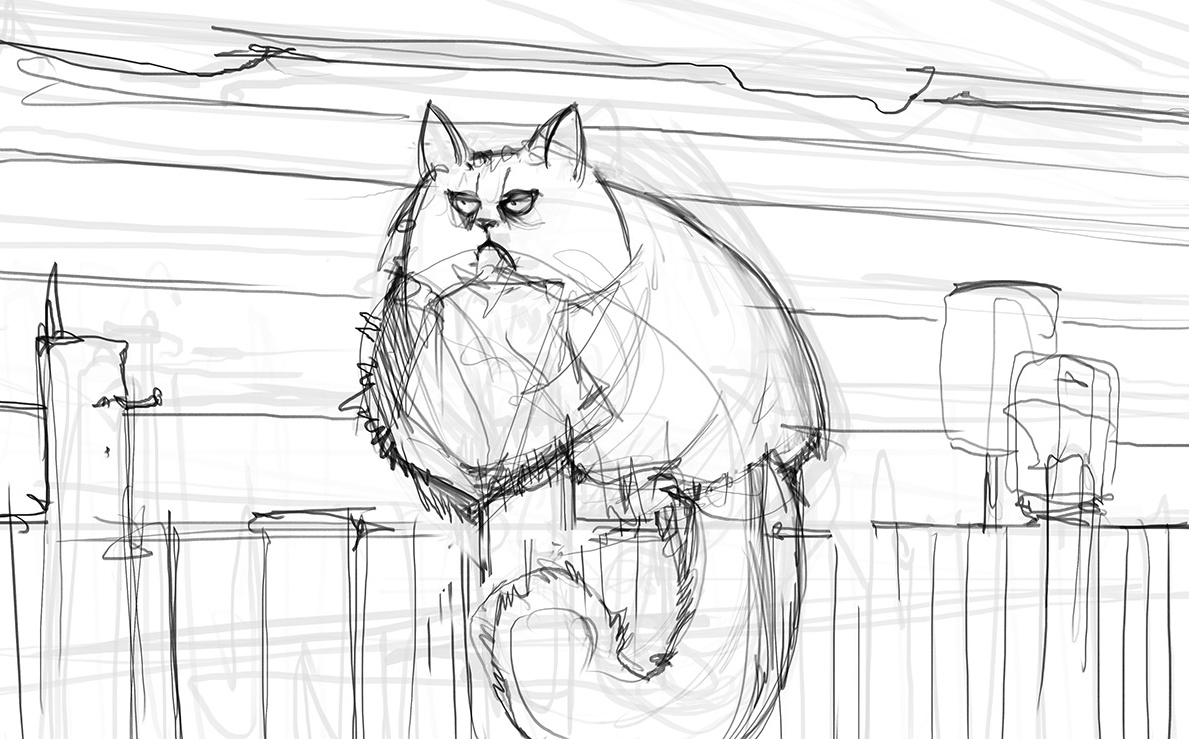 cat, fence, stylized, grumpy, sketch