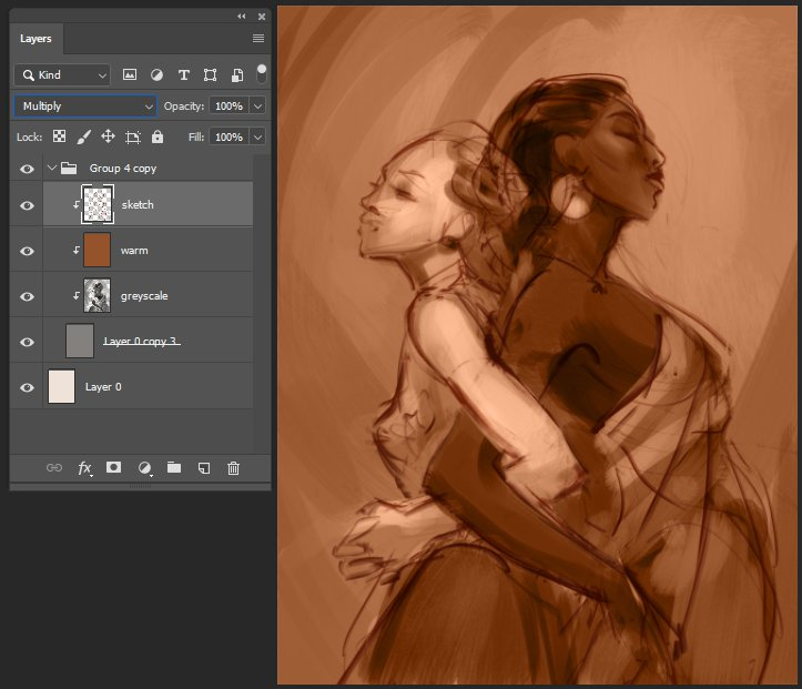 Sisterhood underpainting