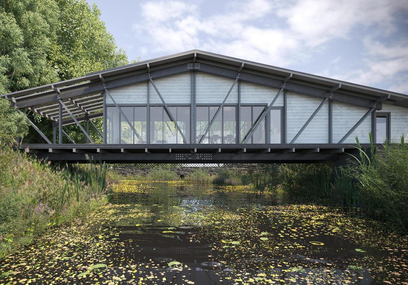 bridge water river 3d model detailed housing building